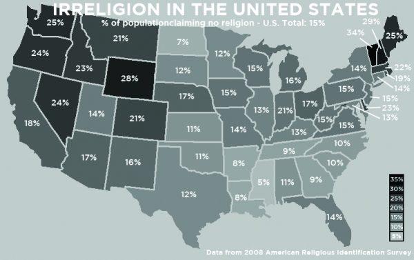Irreligion in the United States: % population claming no religion